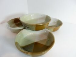 4 Vintage Japan Pottery 7 Cereal Soup Bowls Brown Tan White Triangles Speckles