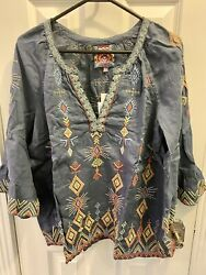 250 Johnny Was Cerise Peasant Top S Nwt W/free Johnny Was Mask And Free Shipping