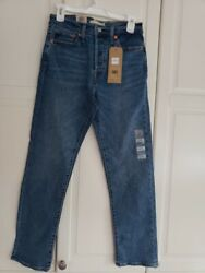 Womens Button Fly Wedgie Straight Ankle Denim Jeans Size 6 Xshort W28 L28