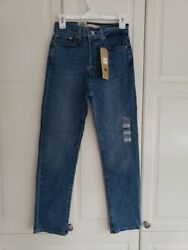 Womens Button Fly Wedgie Straight Ankle Denim Jeans Size 4 X Short W27 L28