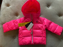 Baby Girl Down Filled Puffer Jacket Neon Pink Size 9m Nwt