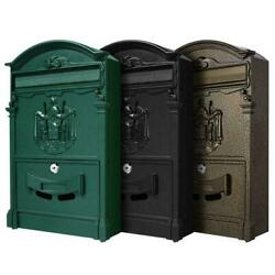 Large Vintage Mailbox Wall Mount Post Box Outdoor Lockable Letter Post Box Mail