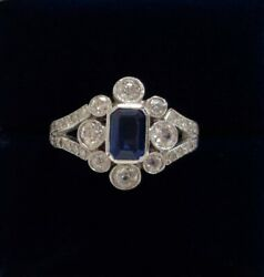 Fine Edwardian Style Sapphire And Diamond Ring 750 18ct White Gold - Size N