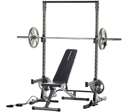 Adjustable Power Rack Squat Stand With J-hooks, Landmine, And Weight Storage