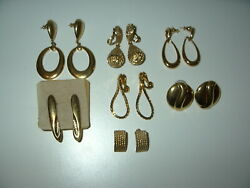 7 Pc. Vintage Signed Monet Goldtone Pierced 5 And Clip 2 Earring Lot