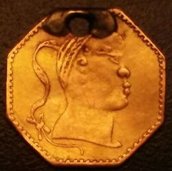 Rare 1882 Chinese Head Gold 1/4 By California Jewelry Co. Ivy Wreath 25c Ingot.