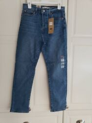 Womens Button Fly Wedgie Straight Ankle Denim Jeans Size 8 X Short W29 L28