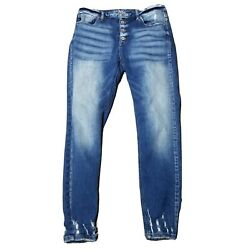 Kancan High Rise Button Fly Skinny Jeans Medium Wash Distressed Denim Size 30