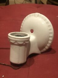 Antique Art Deco White Porcelain Bathroom Pull Chain Sconce Light With Outlet