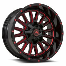 4 New American Off-road Wheels A105 20x12 8x6.5 -44 Black Milled Red