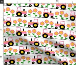 Girly Pink Farm Tractor Farming Flowers Floral Spoonflower Fabric By The Yard