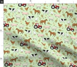 Farm Tractor Horse Cow Sheep Goose Pig Farming Spoonflower Fabric By The Yard