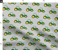 Farm Green Tractor Farming Green Tractors Little Spoonflower Fabric By The Yard