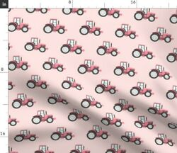 Pink Tractors Farm Themed Tractor Little Arrow Spoonflower Fabric By The Yard