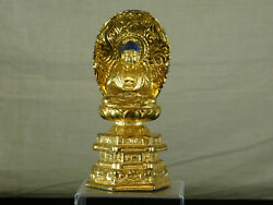 Antique Chinese Qing Dy Gold Gilded Metal Buddha Sculpture Vairocana Statue