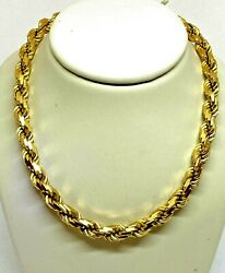 14k Yellow Gold Twisted Rope Necklace 18 5 Mm Wide Long Italy