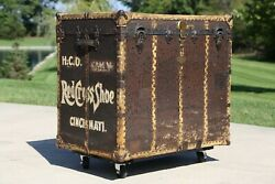 Antique Steamer Trunk Chest Wardrobe Red Cross Shoes Cincinnati Coffee Table Old