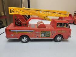 Vintage W.e. Tin Toy Battery Operated Fire Truck Parts Or Repair