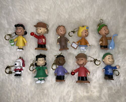 """Peanuts Gang Snoopy Christmas Keychain Lot Of 10 Ornaments Round 2 2013 3"""""""
