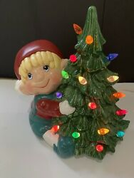 """Vintage 10"""" Ceramic Table Top Christmas Tree Lighted Boy Holding 1991"""