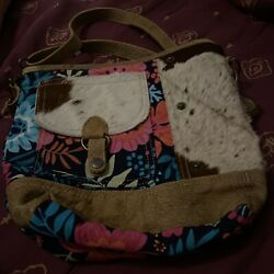 Myra Womens Cow Hide and Floral Fabric Bag Purse Crossbody Leather Strap Flowers $40.00