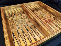 Handmade Backgammon Board Set Vintage Antique Chess Table Wood Pieces Dice Game