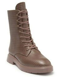 Stuart Weitzman Mckenzee Womenand039s Croc Embossed Leather Combat Boots Taupe Size 8
