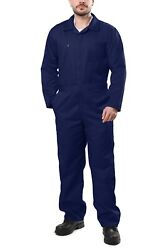 Menand039s Long Sleeve Cotton Blend Coveralls Jumpsuits Elastic Waist