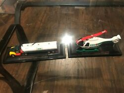 Lot Of 2, Mini Hess Trucks. Exc. Cond. 2004 And 2005. On Display Stands