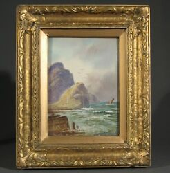 """Antique Canadian Watercolor, """"sailing Past The Cliffs"""", Signed And Framed"""