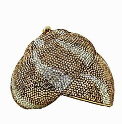 Judith Leiber Shell Evening Bag Clutch Gold Minaudiandegravere Vintage Pearl Crystals