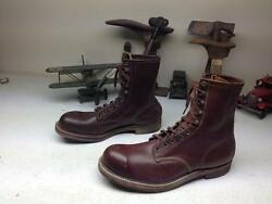 Vintage Mid-century Steel Toe Distressed Brown Leather Motorcycle Boots 11e