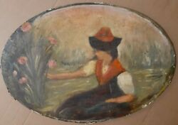 Antique Impressionist Oil On Canvas Painting Lady With Flowers Old Oval
