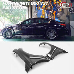 For Infiniti Q50 V37 Eau Style Carbon Fiber Front Vented Fender Arch Flare Cover