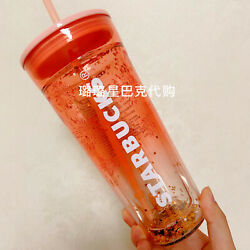 Rare Out Of Print 2019 Starbucks Double Glass Straw Cup Sequin Fireworks Rarity