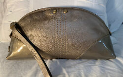 Sale Cole Haan Clutch/wristlet Dome Gold Metallic Pebbled/patent Leather W/studs