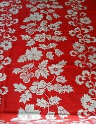 By the 2 amp; 1 3 yard x 40quot; Vintage Border Print Polycotton Red White