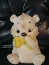 Vintage Sanitoy White Bear Yellow Bowtie Squeaks Rubber Toy 1960's
