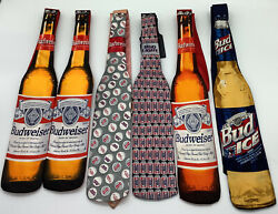 Vintage Budweiser Mens Neckties Beer Bottle Shaped Lot Of 6 Nwt Why-knot