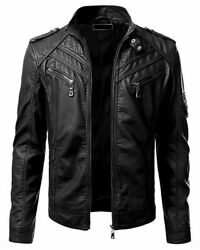 Casual Stand Collar Genuine Sheep Leather Zip-up Biker Fashion Bomber Jacket