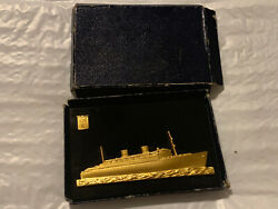 Rare Antique White Star Lines Homeric Ship Paperweight Home Lines