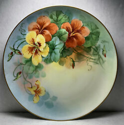 """Hand Painted Plate Germany, Signed Pickard Artist C.koenig, Floral, 9 1/4"""""""