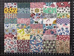 40 Pc Vintage Feedsack Fabric 5andrdquo Charm Squares Quilt Blocks All Different Lot A
