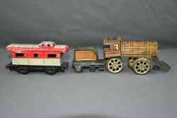 Antique Marx Nyc Caboose And Nonpareil Engine And Coal Car Tin Litho Train-track