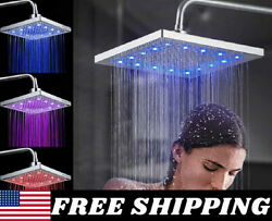 8 Square Rainfall Shower Head Sprayer High Pressure With Led Colors Changing Us