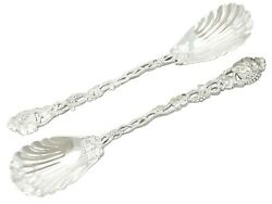 Sterling Silver Serving Spoons Antique Victorian 1850