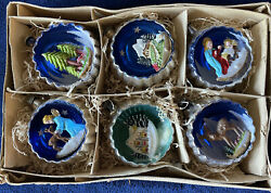 Vintage Mercury Glass 3d Diorama Indent Christmas Ornaments Italy With Box