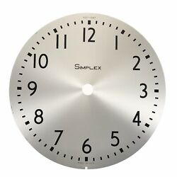 Vintage 10 Simplex Wall Clock Metal Face Dial Brushed Stainless Steel 507-047
