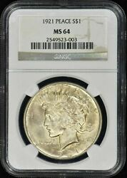 1921 High Relief Peace 1 Ngc Ms64 - Coinvestmentpros