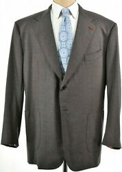 Isaia Nwt Suit Size 62 52r Us Solid Brown Melange Flannel Wool Dynamic Comfort